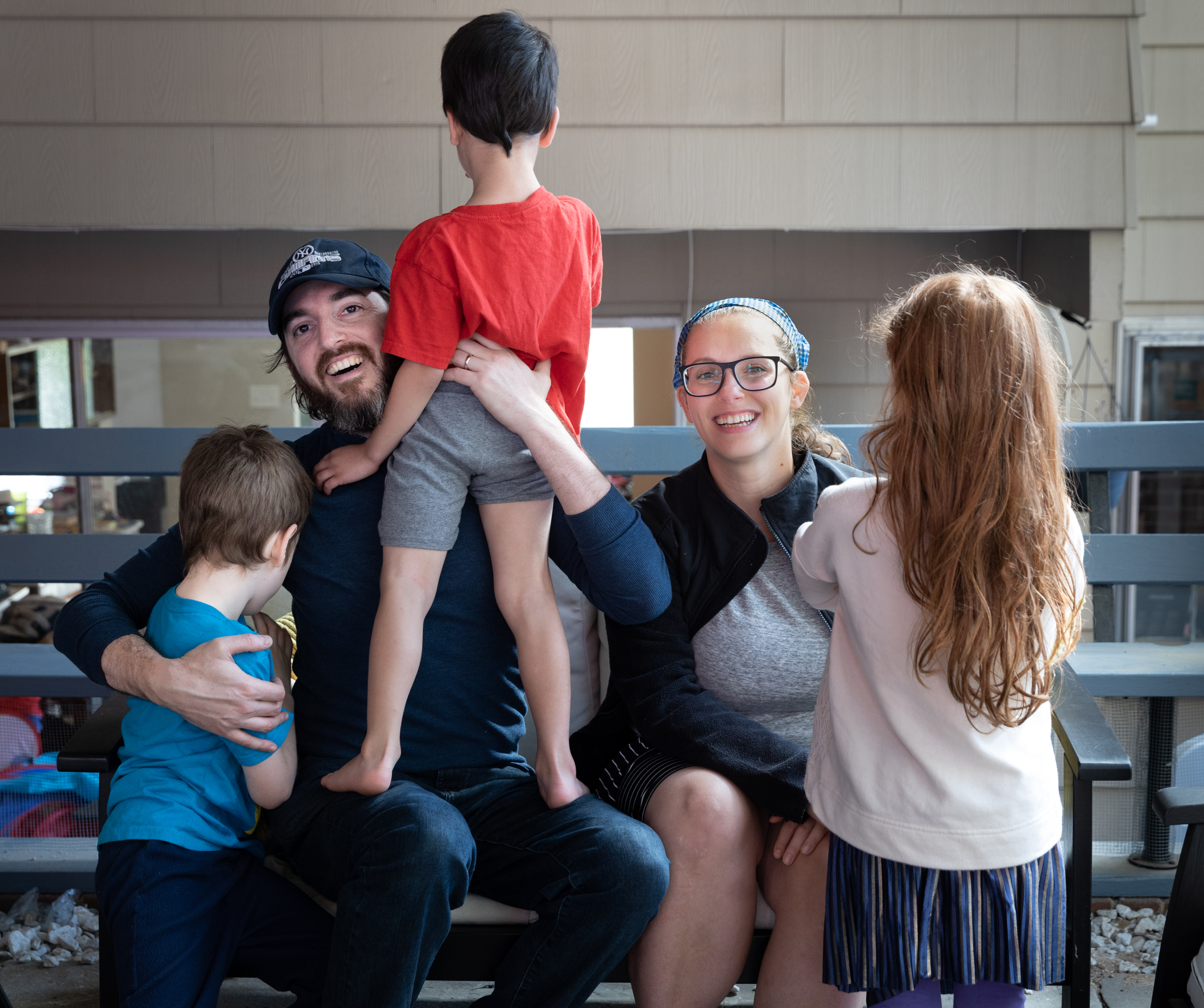Seth and Bethany Mandel celebrate the eighth birthday of their eldest daughter, far right, in Silver Spring, Md., on Sunday, Oct. 17, 2021. The power couple call themselves the parents of the Irishest Jewish kids on Earth.