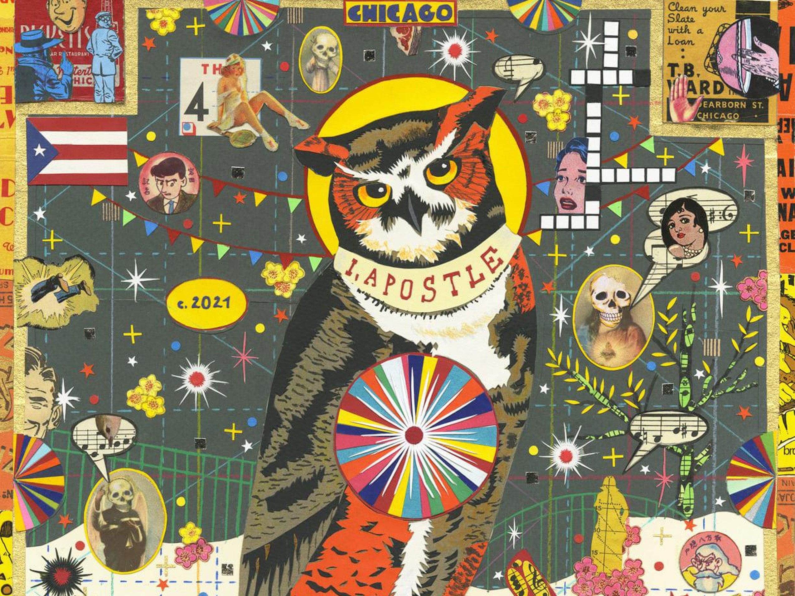 """A cropped view of Tony Fitzpatrick's """"The Watchman of Humboldt Park (I, Apostle)"""" Provided by Tony Fitzpatrick"""