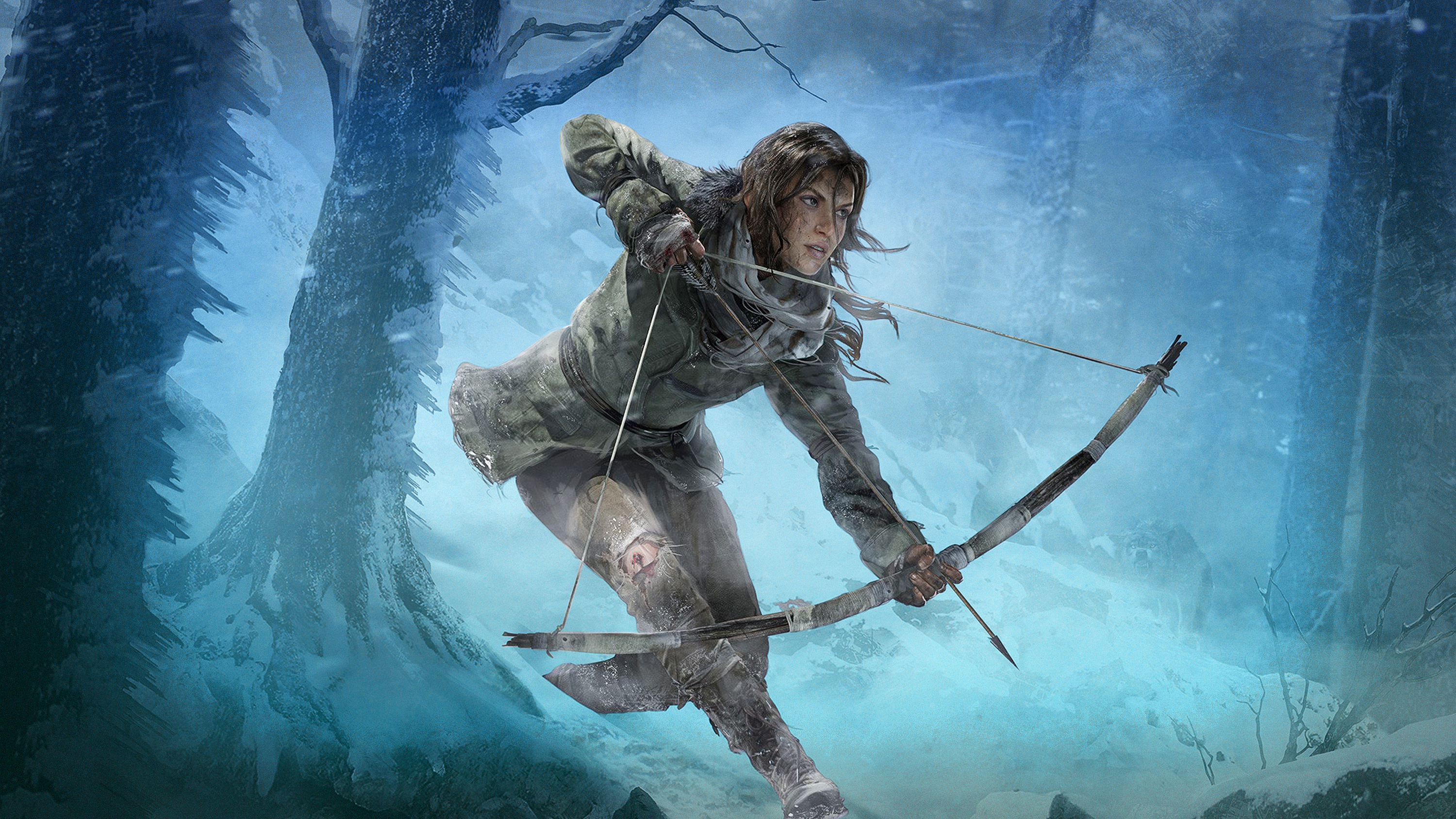 Lara Croft character running through snowy woods and drawing a bow