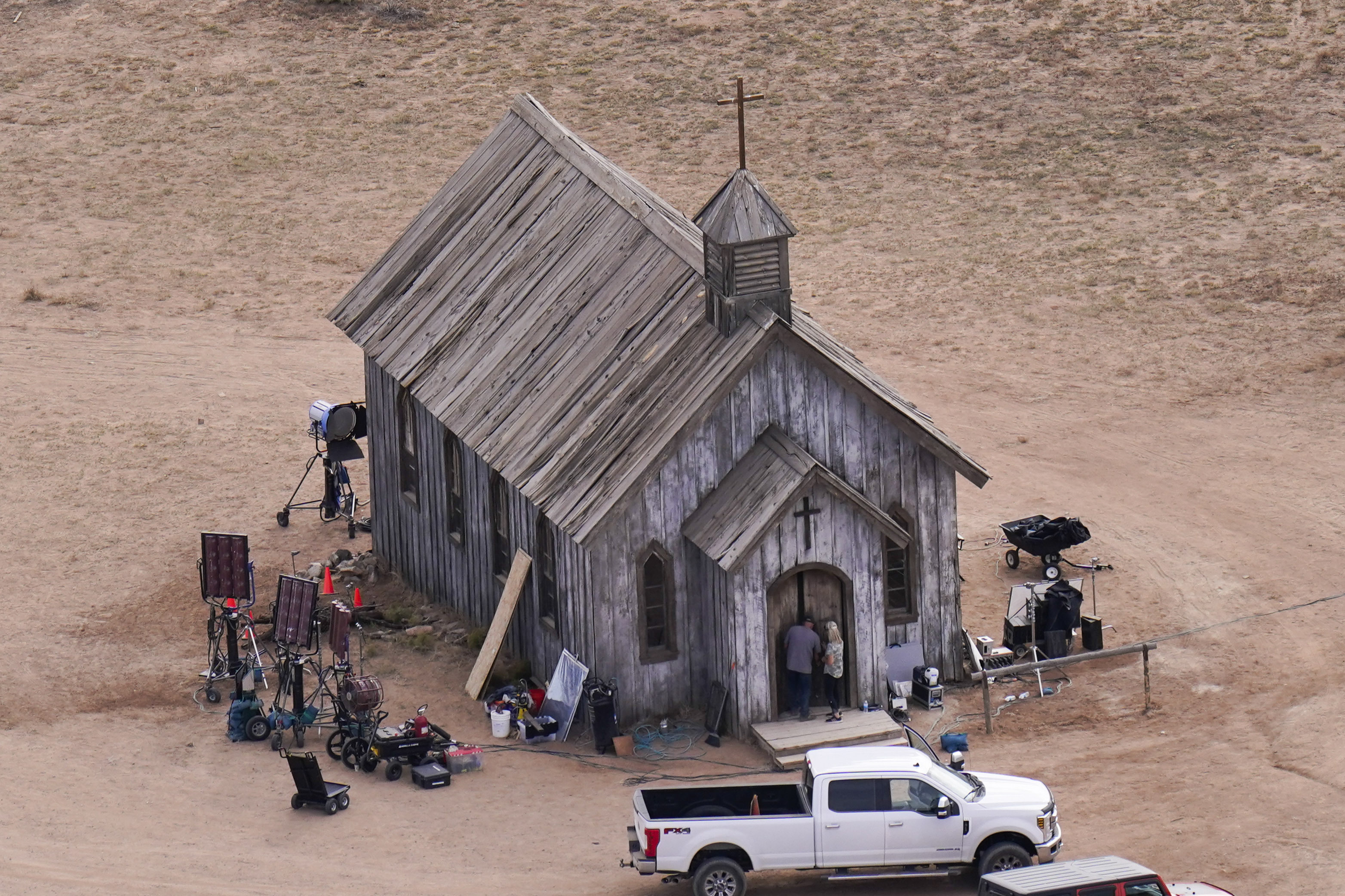This aerial photo shows a film set at the Bonanza Creek Ranch in Santa Fe, New Mexico on  Saturday, Oct. 23, 2021.