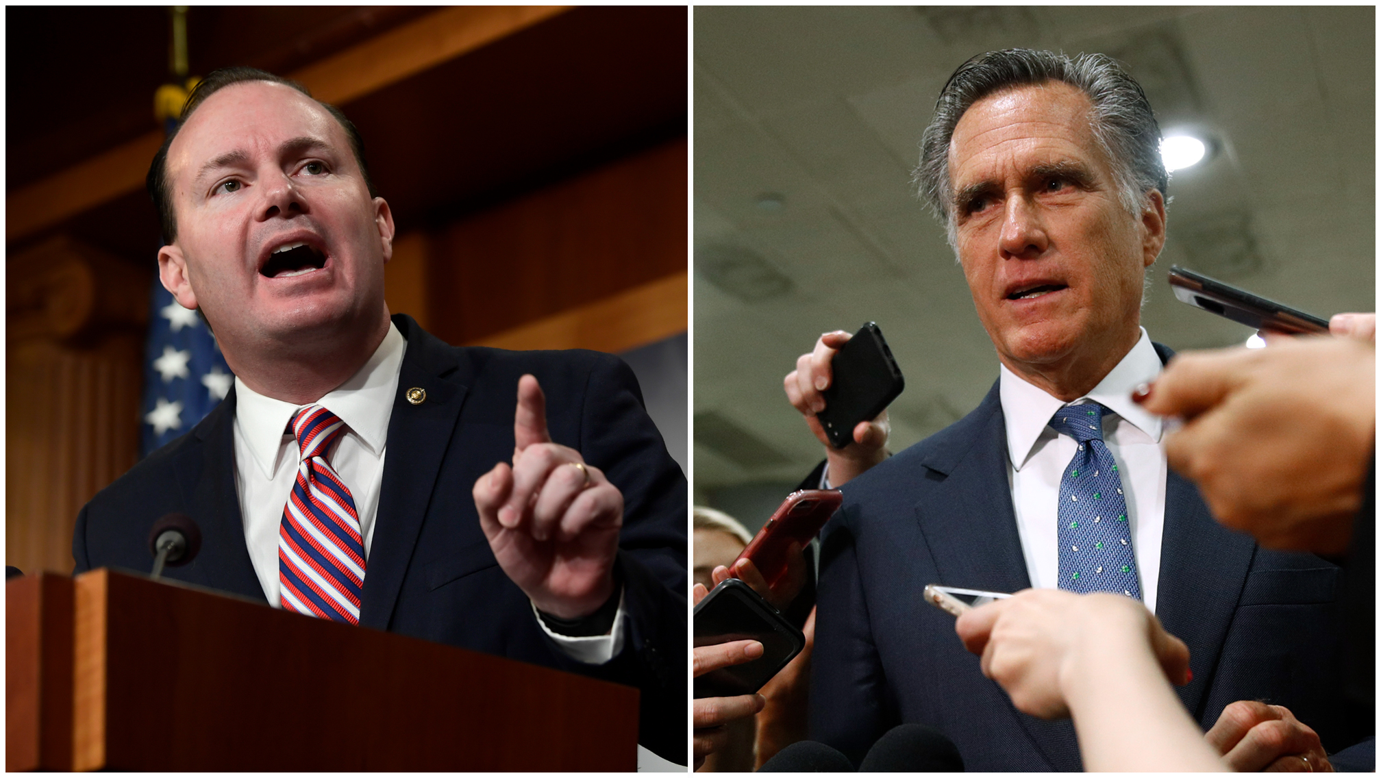 Sen. Mike Lee speaks during a news conference, while Sen. Mitt Romney speaks to reporters.