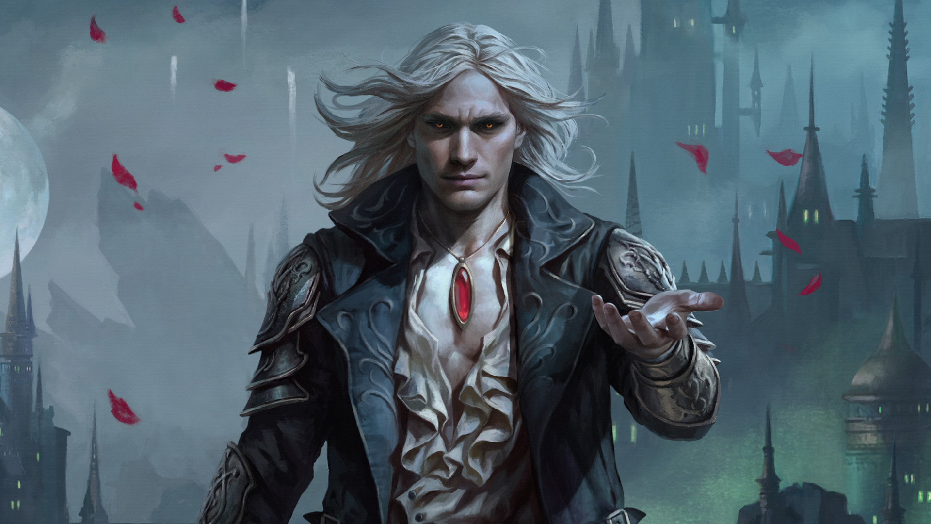 A dashing vampire walks into the frame, rose petals floating on the breeze behind him.