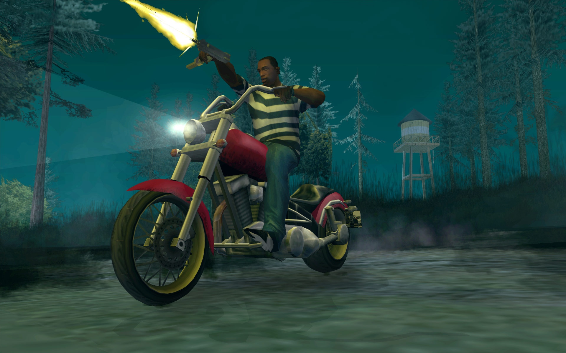 Grand Theft Auto: San Andreas - CJ rides a red motorcycle through a dark wood, shooting a gun with one hand