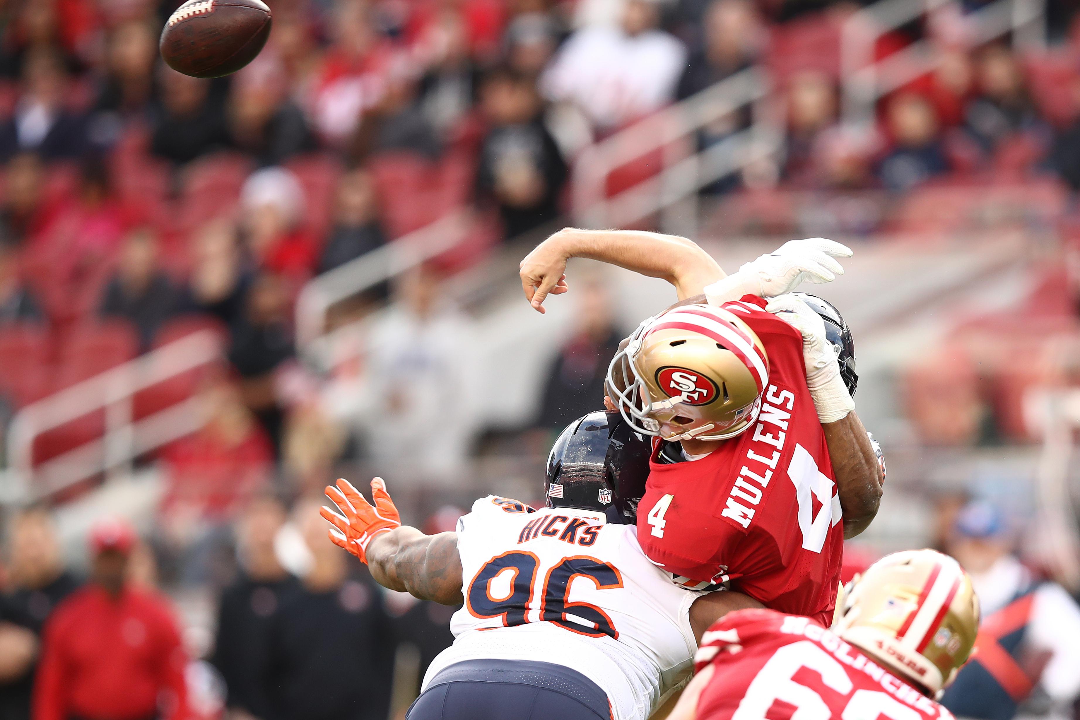Bears defensive lineman Akiem Hicks sacks then-49ers quarterback Nick Mullens in 2018.