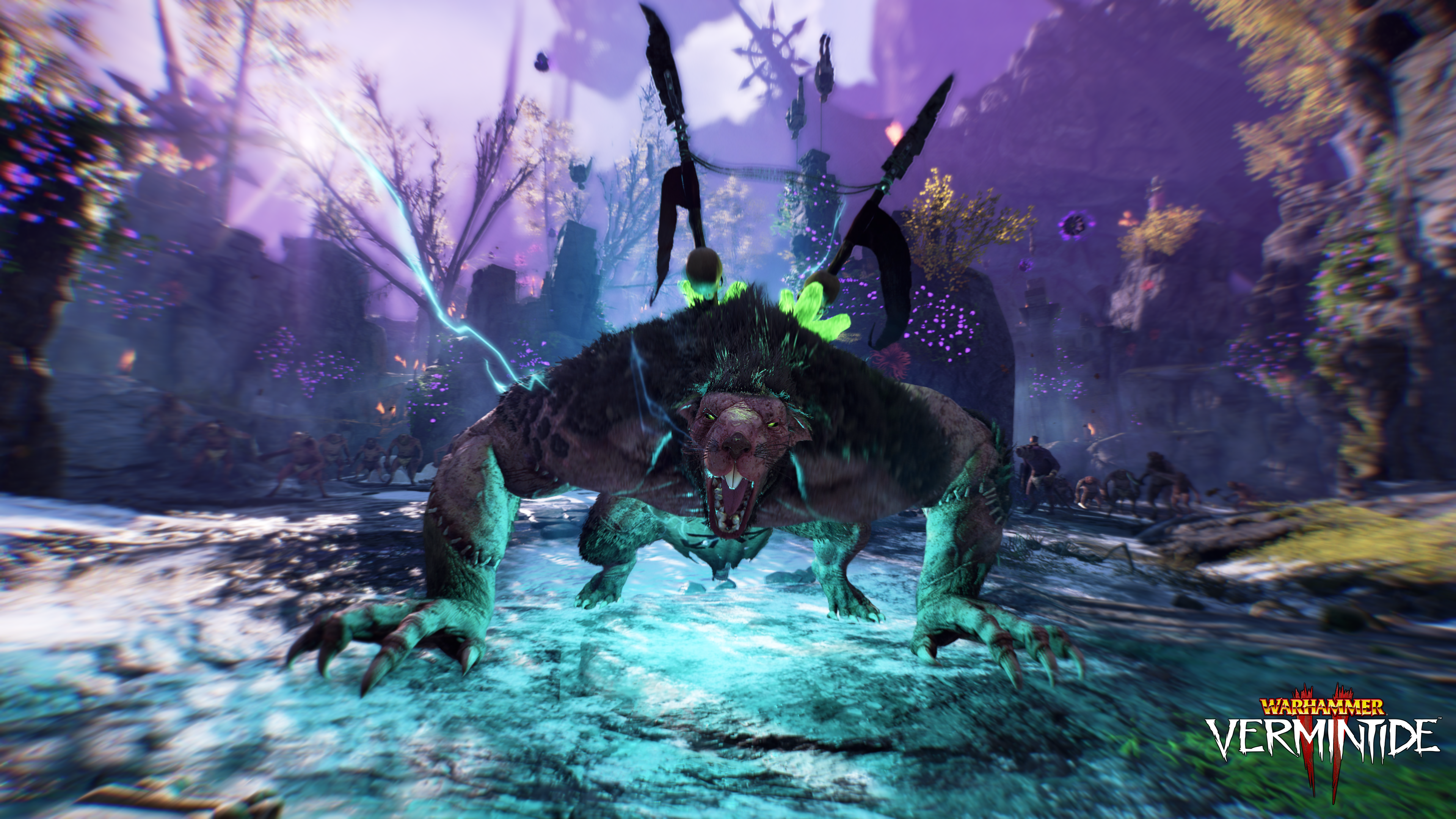 Vermintide 2: A giant rat beast crouches menacingly in the middle of the supernatural Chaos Wastes. Two spears are plunged through his back.