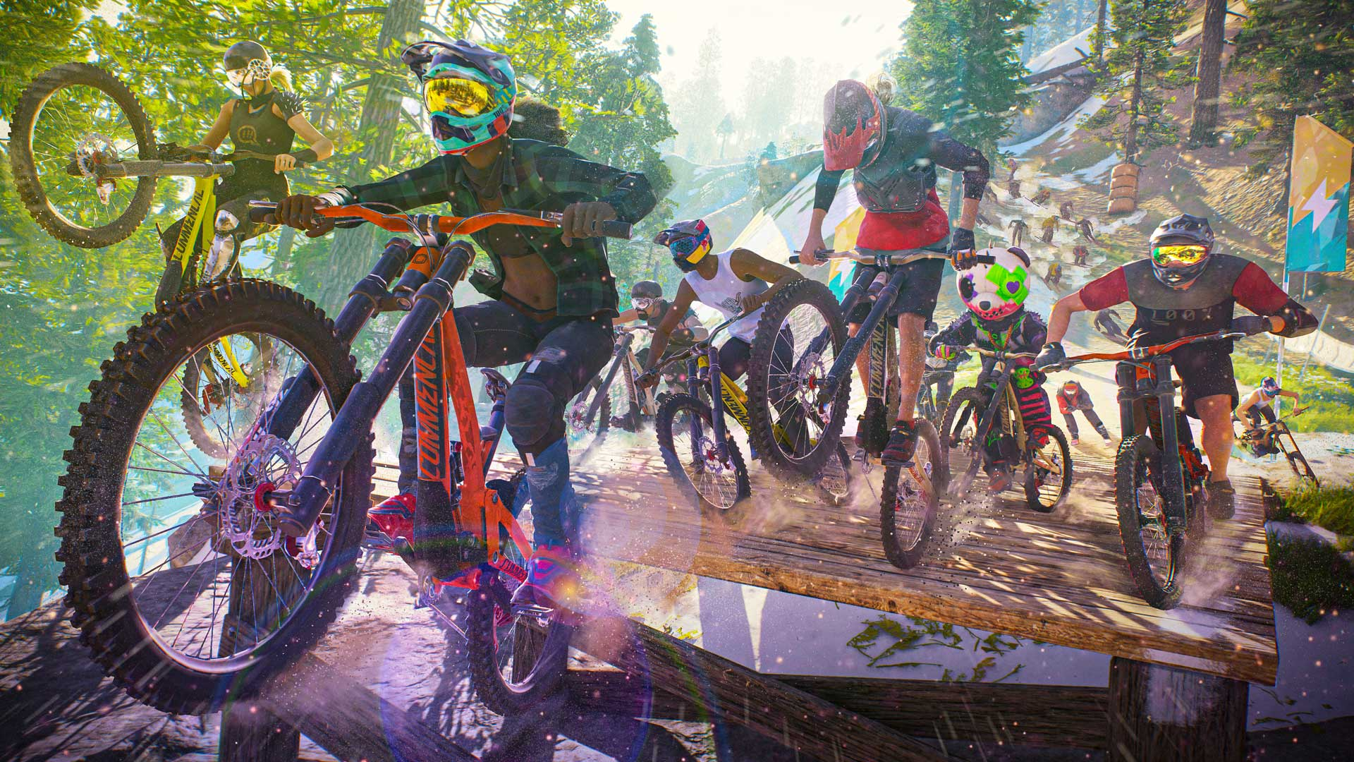 a peloton of mountain bikers racing through a wooded course in Riders Republic