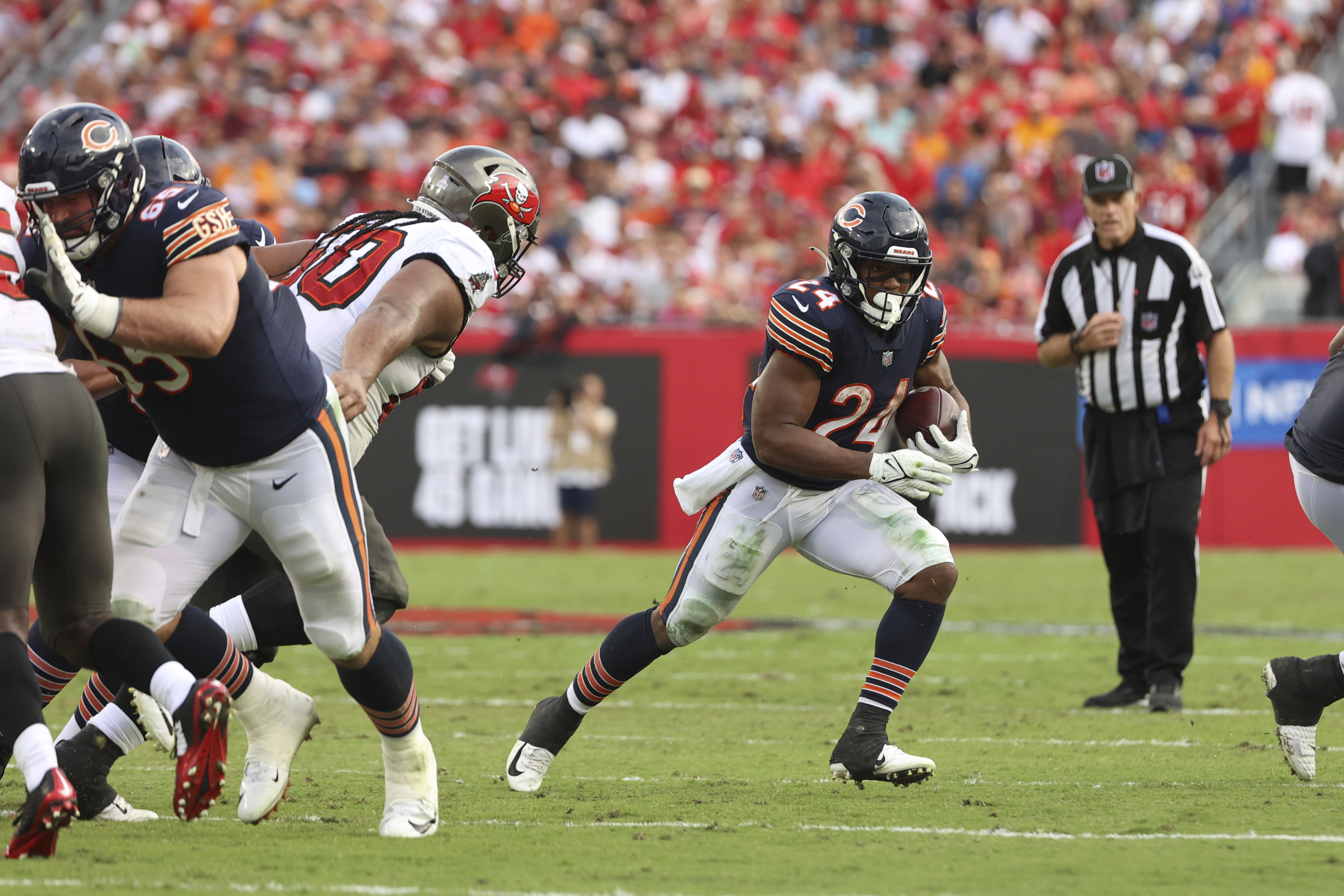 Bears running back Khalil Herbert (24) had 18 carries for 100 yards against the Buccaneers' top-ranked run defense last week —the most by a single rusher against the Buccaneers this season.