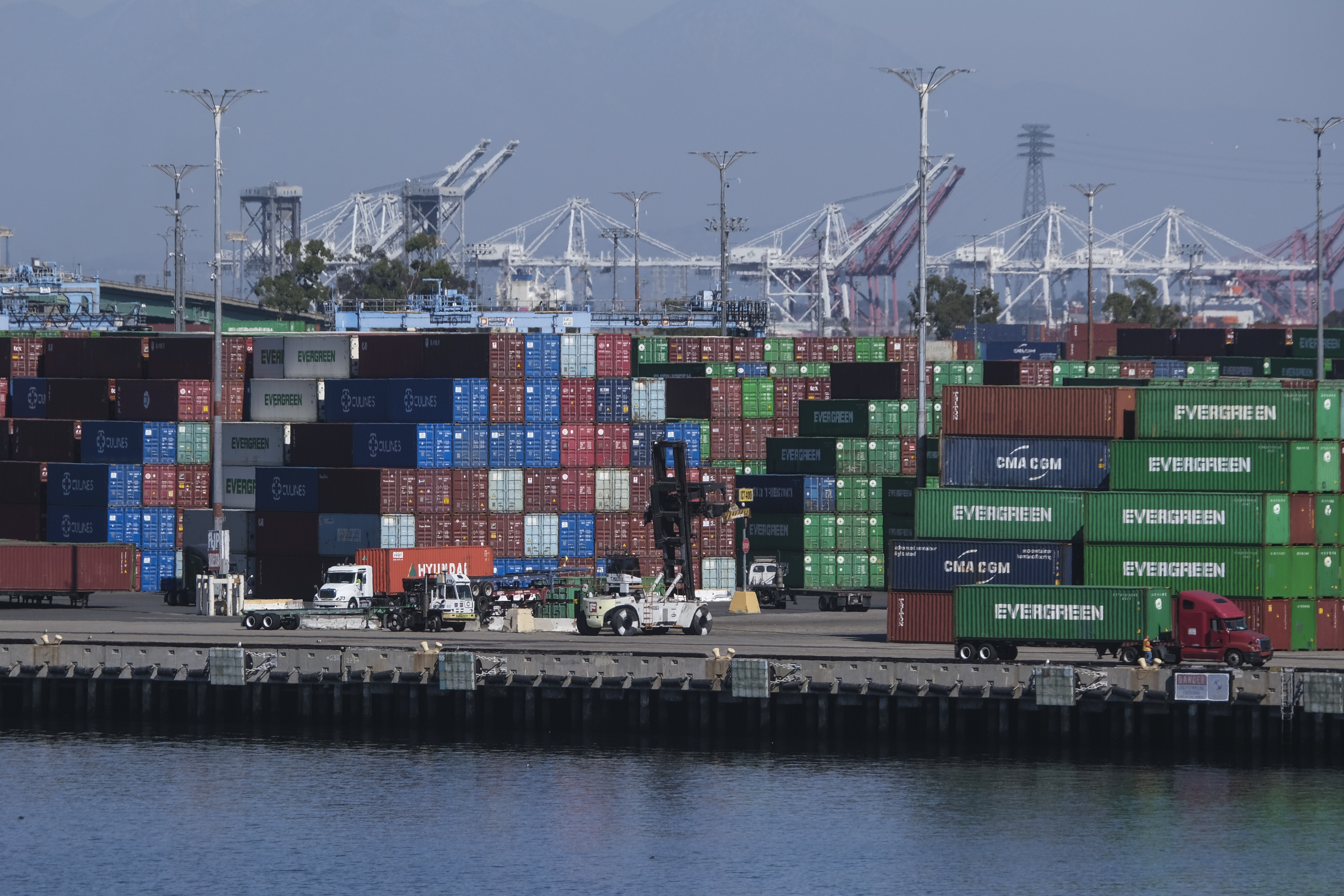 Cargo containers sit stacked at the Port of Los Angeles.