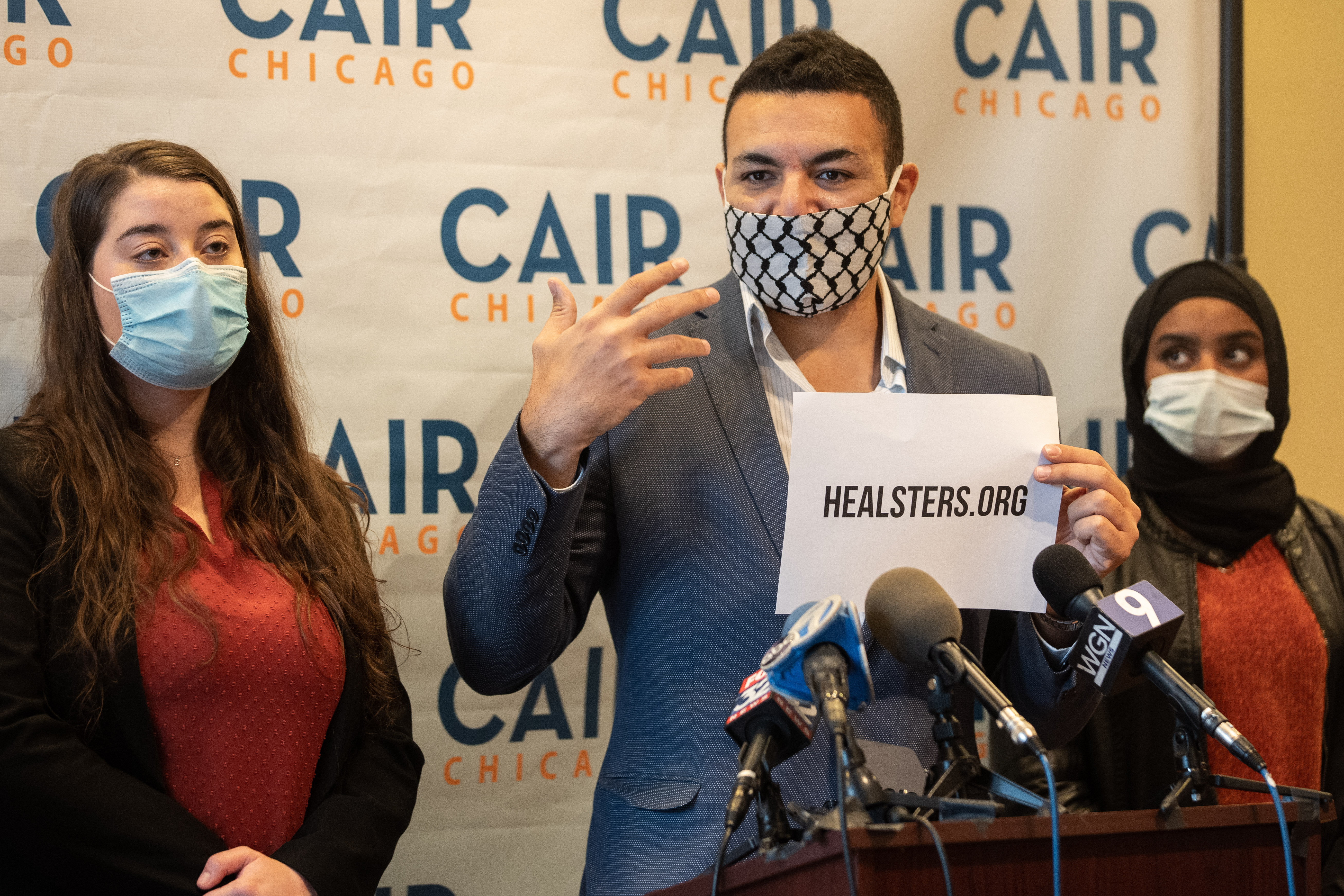Ahmed Rehab, executive director of CAIR Chicago, announces a new initiative Thursday in response to a recent uptick in bullying of students with Middle Eastern roots.