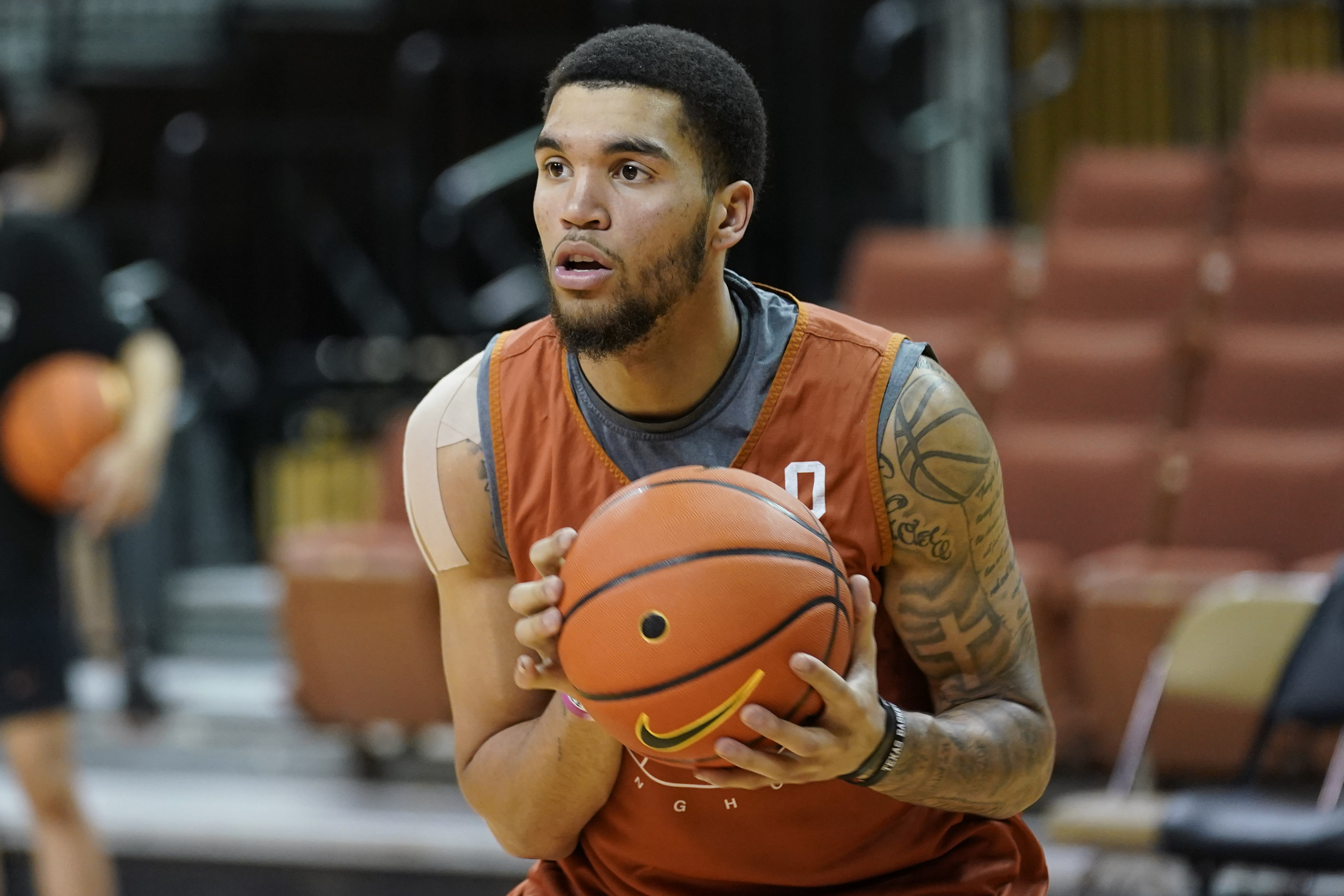 Texas forward Timmy Allen during a practice at the team's facility, Tuesday, Oct. 19, 2021, in Austin, Texas.