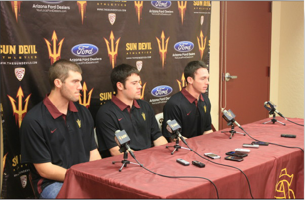 Trevor Williams, Alex Blackford and Max Rossiter address the media