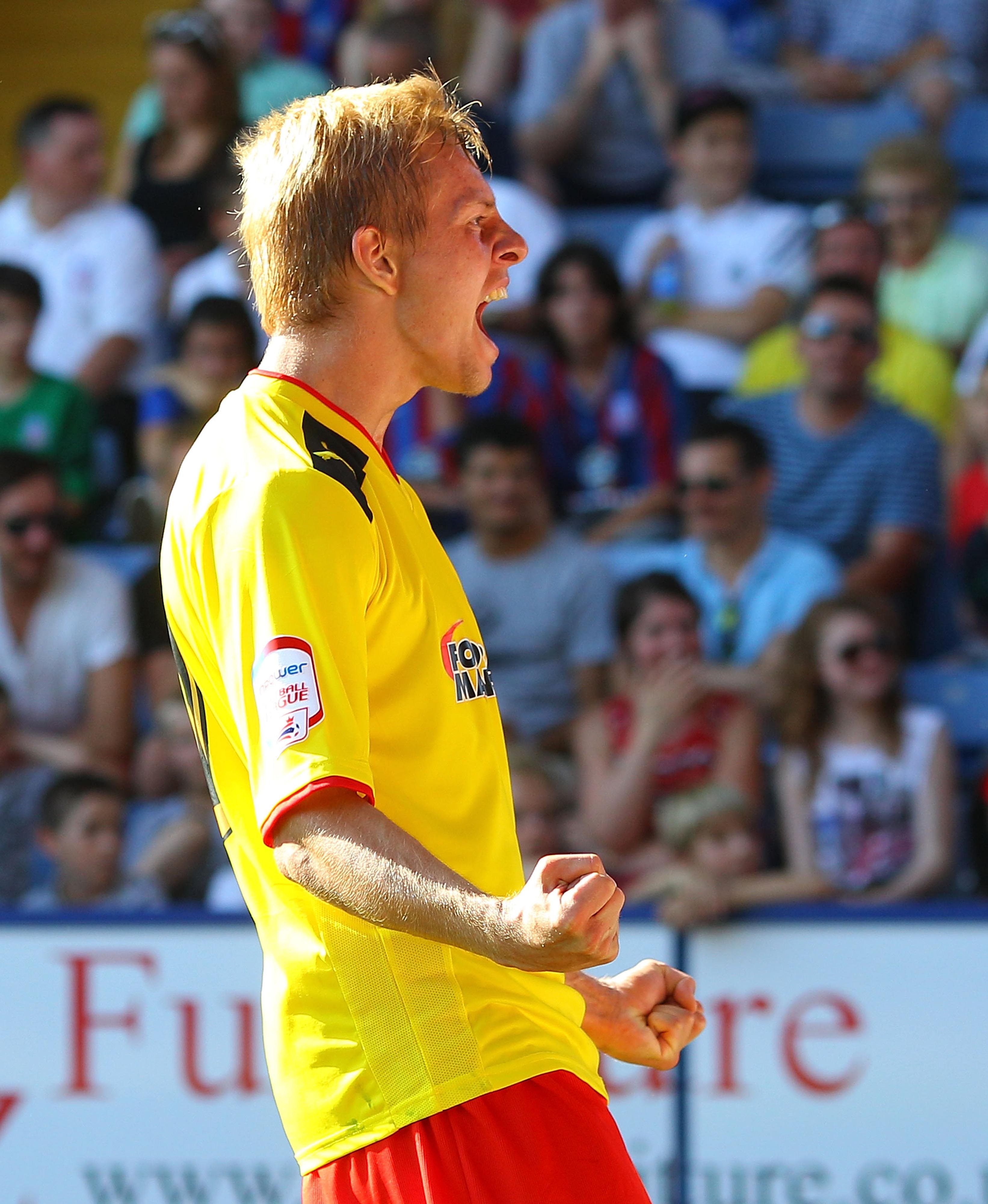 Vydra, celebrating one of his many goals