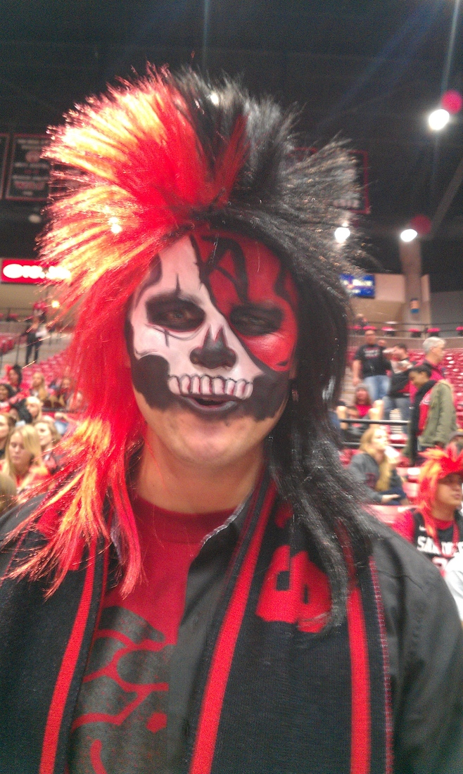 Joseph, a student at SDSU and proud member of The Show, doesn't hold back when preparing for gameday.
