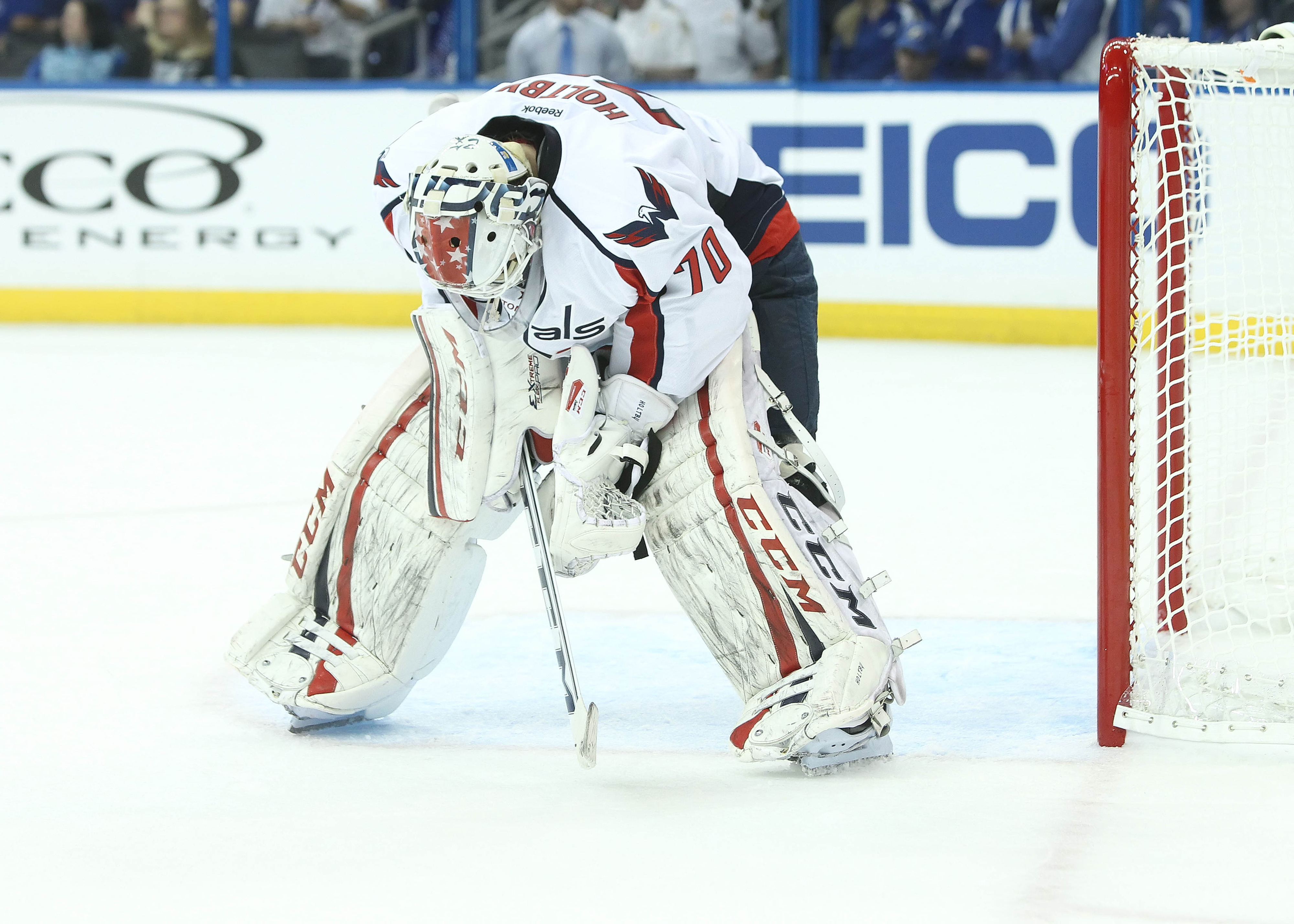 Goalie Braden Holtby is among many on the Capitals roster who have yet to find their A-game under Coach Adam Oates. Despite his dismal 4.03 GAA and .874 Save %, he has 3 of the Caps 4 wins this season.