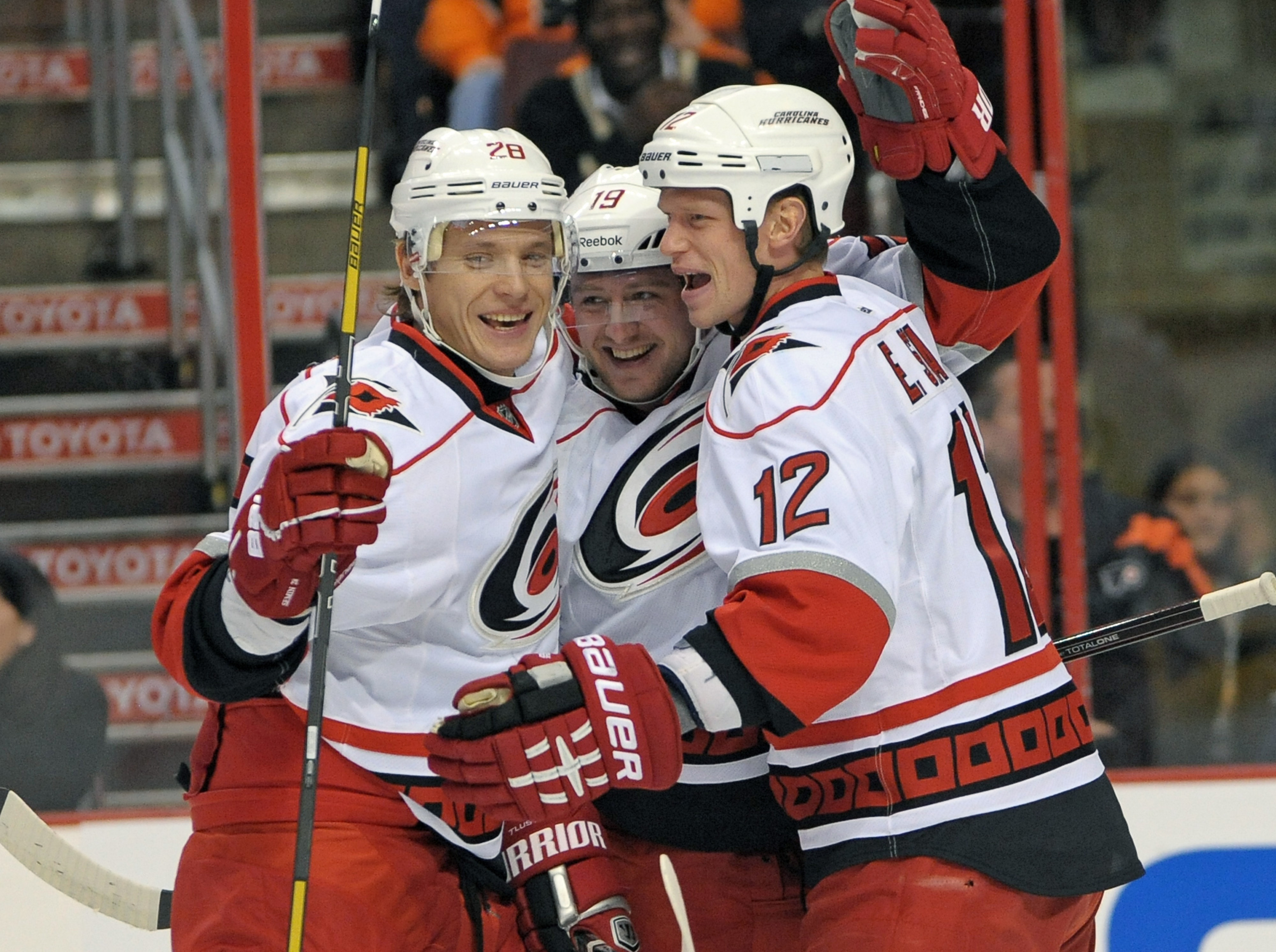 The Hurricanes top line of Semin, Tlusty and EStaal have been hugging a lot this week as they led the team's push to the top of the Southeast standings.