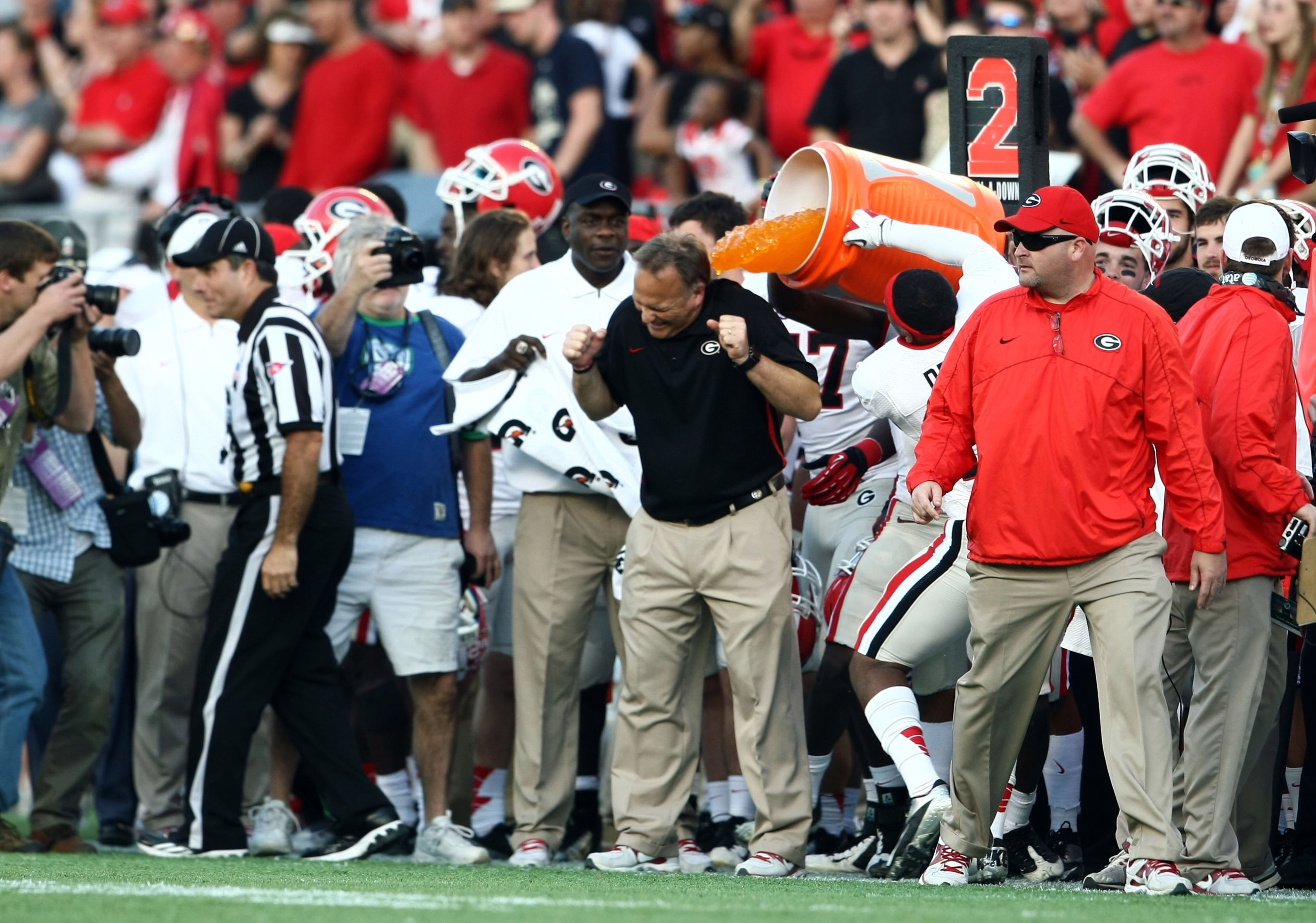 Mark Richt is doused with Powerade after a New Year's Day bowl victory to cap off the third twelve-win season in Georgia history. Is he on the hot seat?