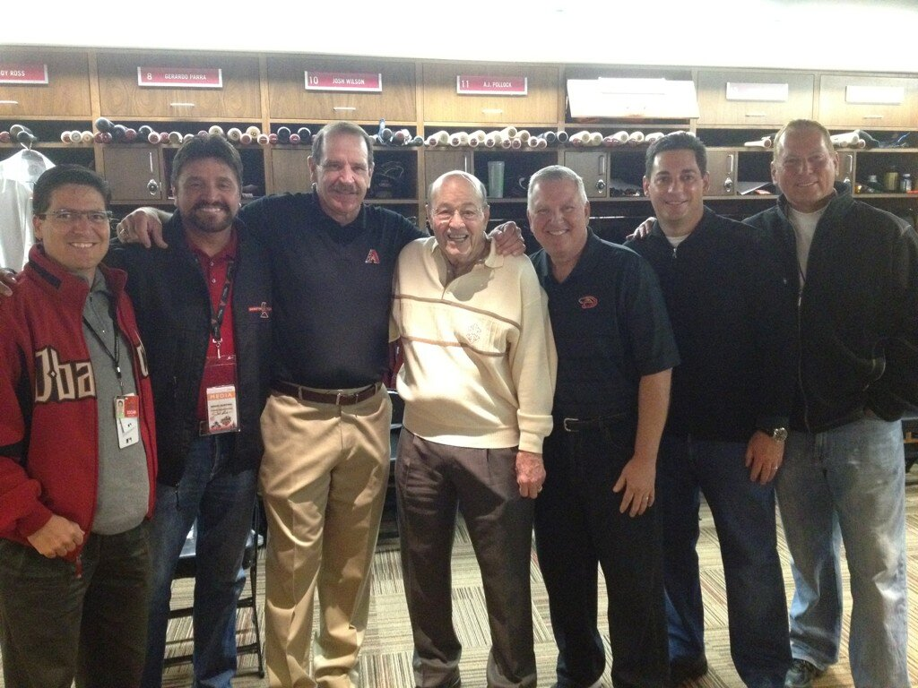 """""""An end of an era. Hall of Famer Joe Garagiola retires from the booth. Flanked by the current broadcast team"""""""