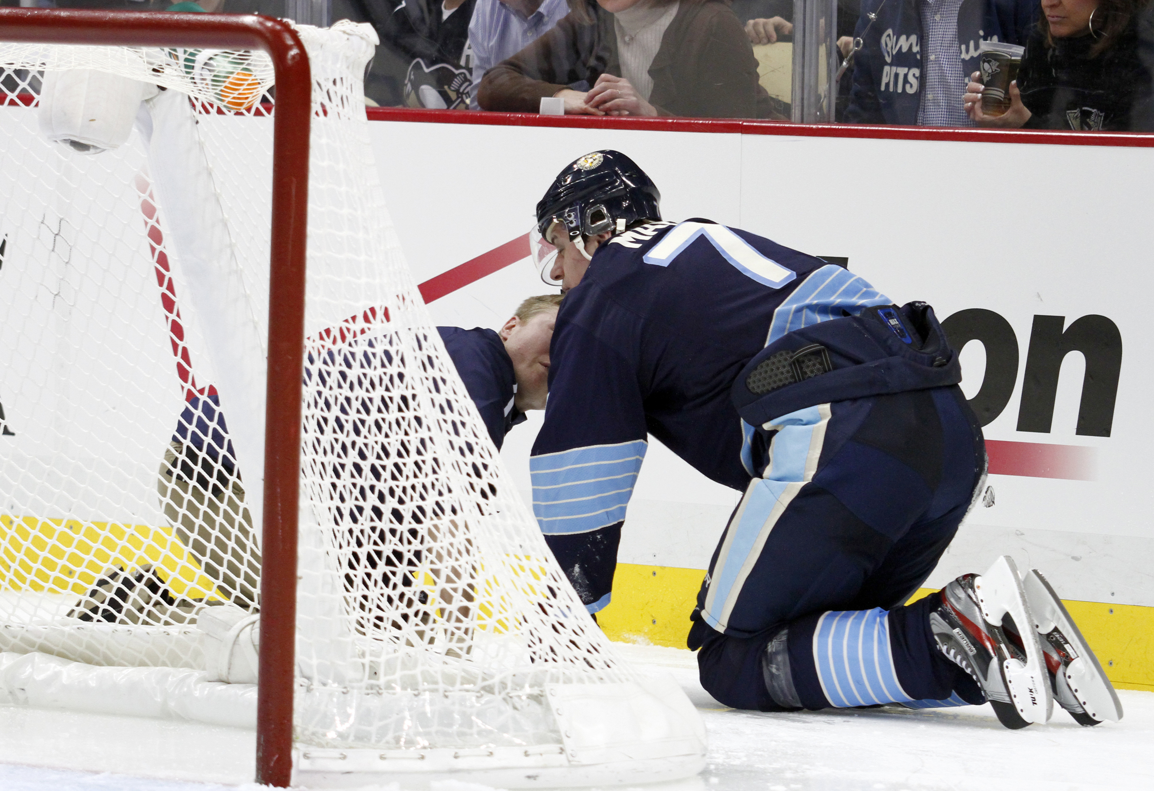 From Friday, a scary sight as we imagine Evgeni Malkin here is trying to remember what day it is and what city he's in.