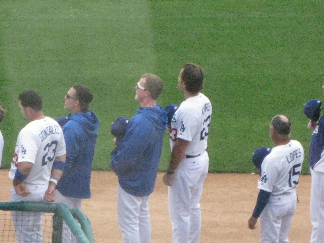 One No. 23 Dodgers first baseman watched another throw out the ceremonial first pitch on Sunday at Camelback Ranch.
