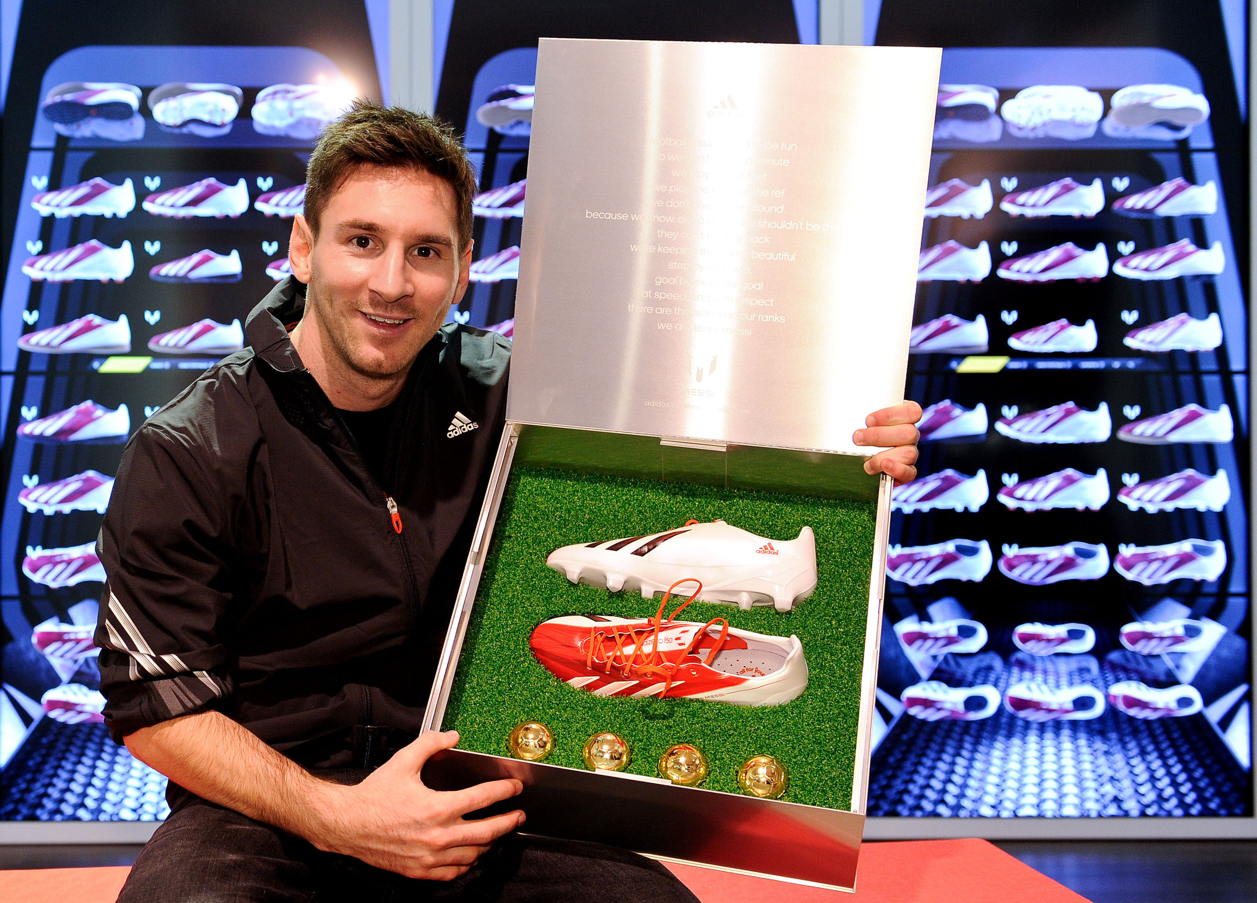 It's nice of them to make a box that's actually bigger than Messi himself.