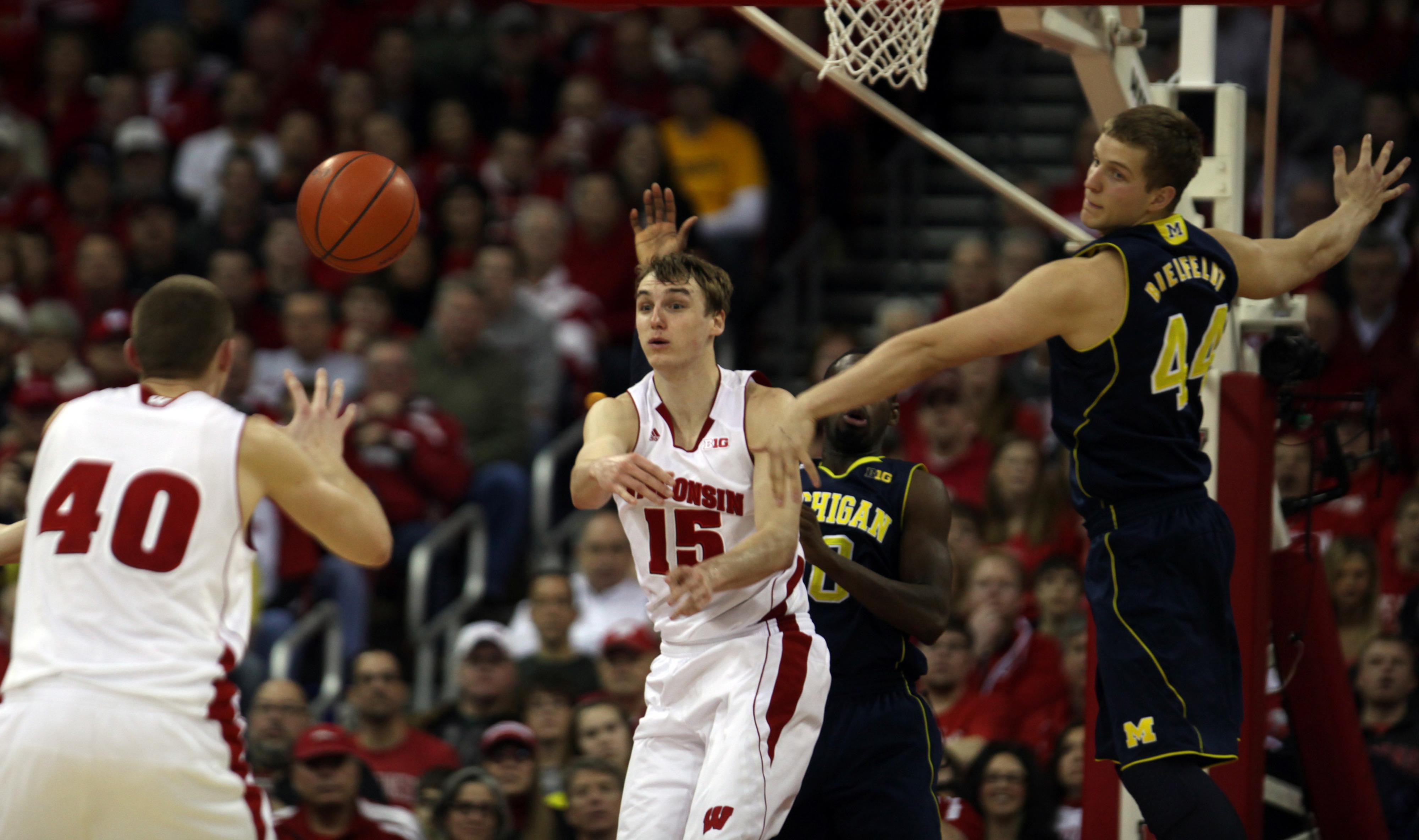 Both Sam Dekker (15) and Michigan's Glenn Robinson III were named to the Big Ten's All-Freshman squad.