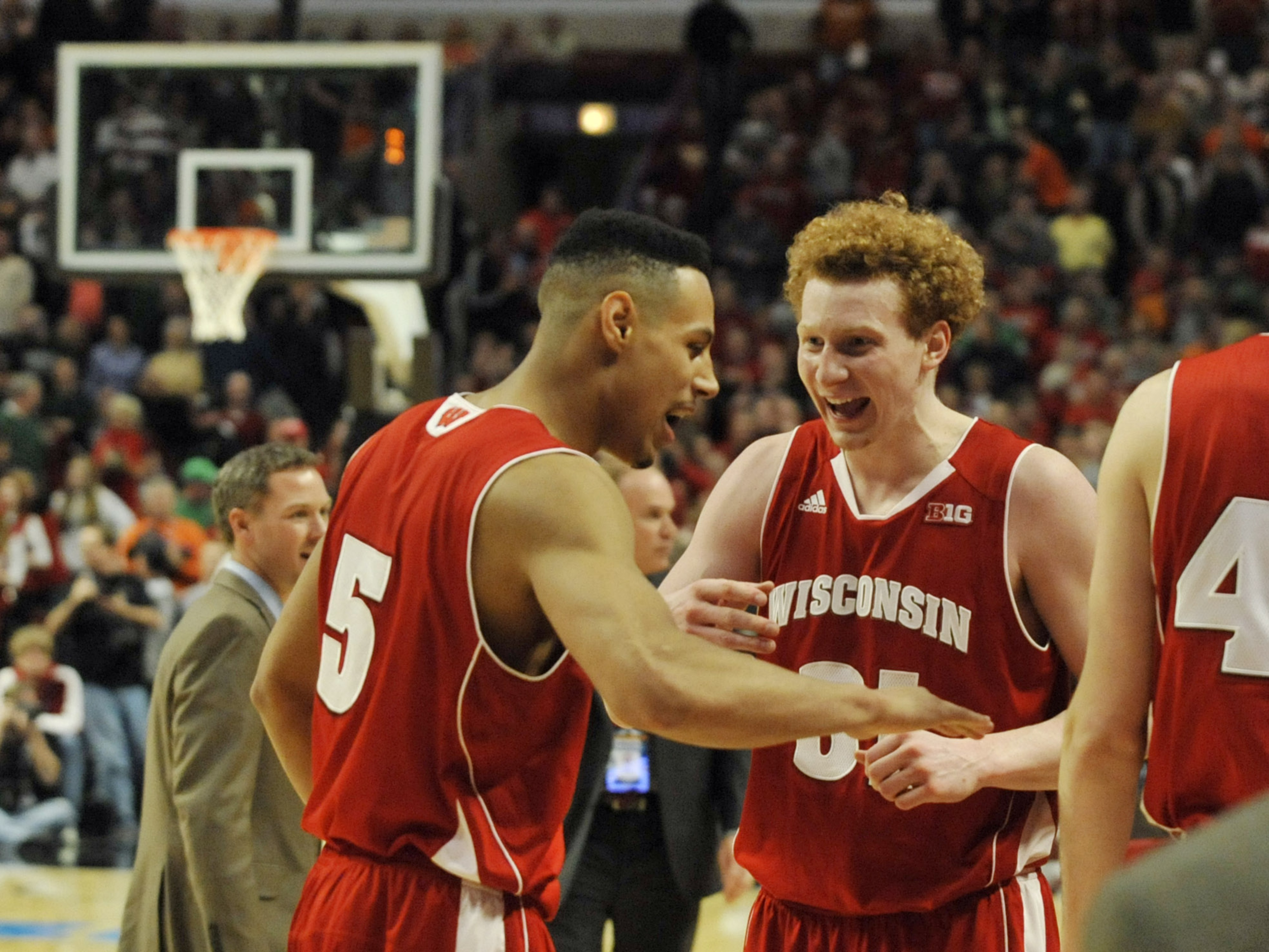Ryan Evans and Mike Bruesewitz celebrate yet another win over Indiana.
