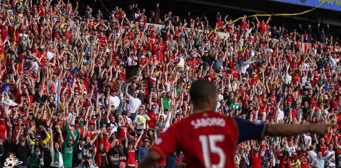Alvaro Saborio celebrates after scoring against Colorado Rapids.